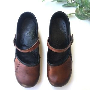 Dansko Marcelle Latigo Brown Leather Clogs